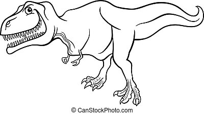 cartoon tyrannosaurus dinosaur for coloring book