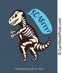 Cartoon tyrannosaurus Rex dinosaur fossil. Vector illustration