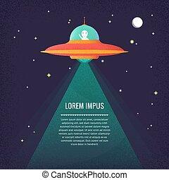 Cartoon UFO. Alien.