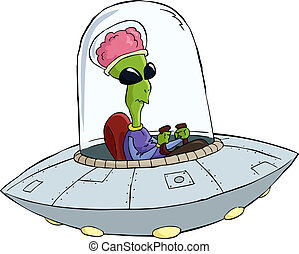 Cartoon UFO - UFO on a white background vector illustration