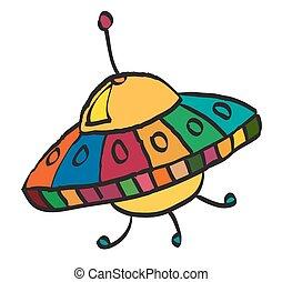 Cartoon UFO, illustration on white background