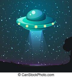 UFO light vector. Alien sky beams. Ufo spaceship with beam, saucer ufo flying illustration