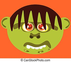 Cartoon ugly green monster face.