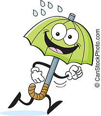 Cartoon Umbrella Running