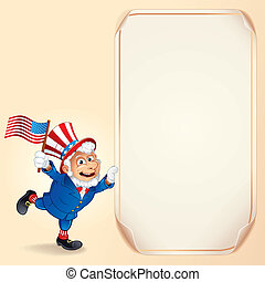 Cartoon Uncle Sam with USA Flag. Vector Background