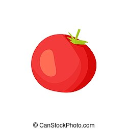 Cartoon Uncut Fleshy Red Tomato with Green Leaf - Homegrown ...