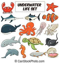 Cartoon underwater animals set vector