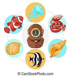 Cartoon Underwater Life Concept - Cartoon underwater life...