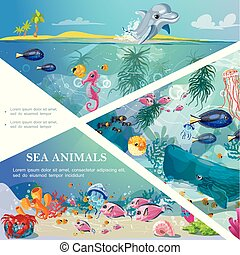 Cartoon Underwater Life Template - Cartoon underwater life...