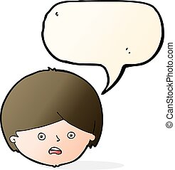 cartoon unhappy boy  with speech bubble