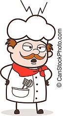 Cartoon Unhappy Chef Screaming on Workers