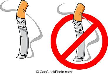 Cartoon unhappy cigarette character