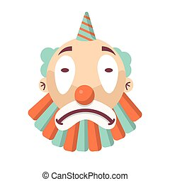 Cartoon unhappy clown face isolated on white. Sad comedian head