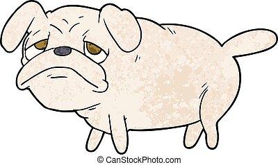 cartoon unhappy pug dog