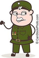 Cartoon Unhappy Sergeant Expression Vector Illustration