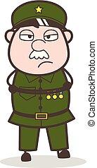 Cartoon Unhappy Sergeant Face Vector Illustration