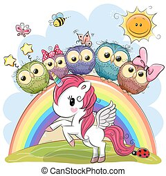 Cartoon Unicorn and Five Cute Owls