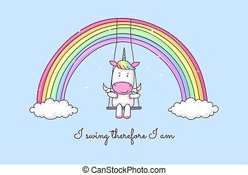 Cartoon unicorn swinging on a rainbow