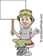 Cartoon unkept sloppy man sitting on a bar stool and holding...
