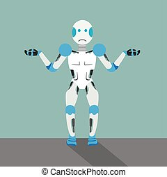 Cartoon Unknowing Robot - Unknowing robot cartoon with gears...