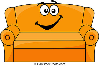 Cartoon upholstered orange couch, sofa or settee with a happy smile, vector illustration isolated on white