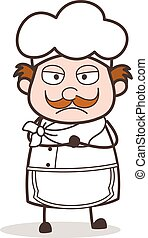 Cartoon Upset Chef Expression Vector Illustration