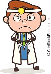 Cartoon Upset Doctor Expression Vector Illustration