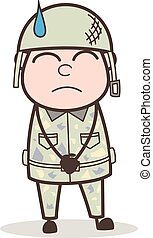 Cartoon Upset Soldier Vector Character