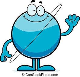 Cartoon Uranus Waving - A cartoon illustration of the planet...