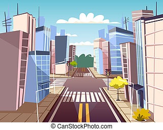 cartoon urban crossroad concept