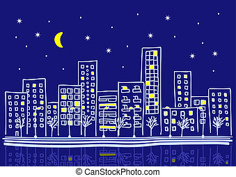 cartoon urban night