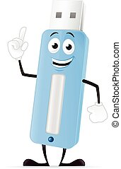 Cartoon USB stick mascot vector illustration