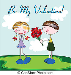 Cartoon Valentine card with kids - Cartoon Valentine card...