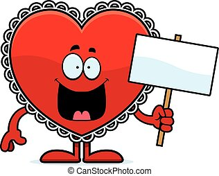 A cartoon illustration of a Valentine holding a sign.
