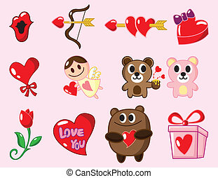 Cartoon Valentine S Day Stickers