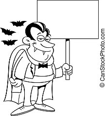 Cartoon vampire holding a sign.