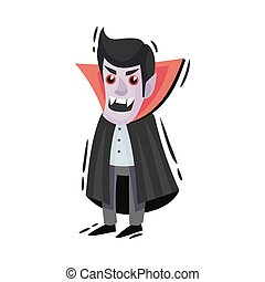 Cartoon vampire with fangs. Vector illustration on a white background.