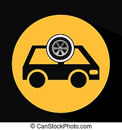 cartoon van car wheel icon design