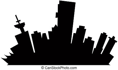 Cartoon Vancouver - Cartoon skyline silhouette of Vancouver,...