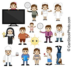 Cartoon Various Concepts Set