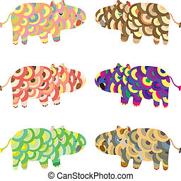 Cartoon vector animals hippo set - bright colorful vector...