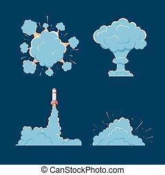 Cartoon vector bomb explosion with smoke.