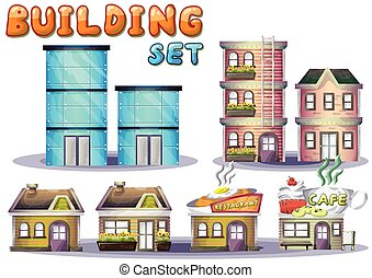 Cartoon vector building set for game and animation, game...