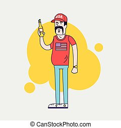 Cartoon vector character. Truck driver with mustache in cap. Illustration of the american redneck with big belly, is holding a beer bottle. Resident of the southern states. Linear flat style.
