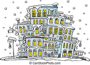 cartoon vector city coated by snow