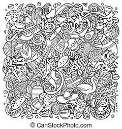 Cartoon vector color doodles Latin America illustration -...