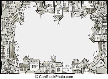 cartoon vector construction town border