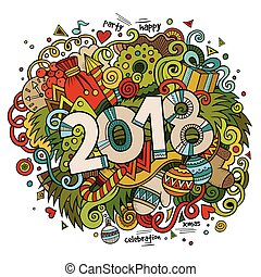 Cartoon vector cute doodles hand drawn 2018 year ...