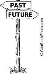 Cartoon Vector Direction Sign with Two Decision Arrows Past and Future