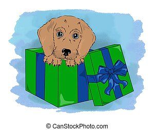 vector dog in box cute puppy